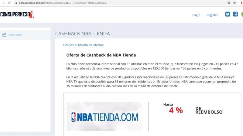 cashback online NBA México